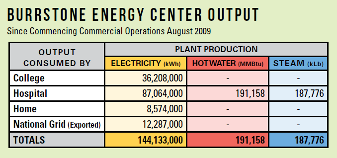 CHP Plant - Burstone Energy Center Output
