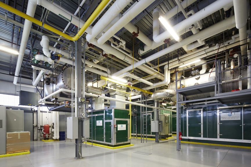 Inside the CHP facility of the Burrstone Energy Center