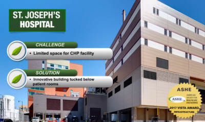 Cogen receives 2017 Vista Award from ASHE for the innovative St. Joseph's Hospital CHP project