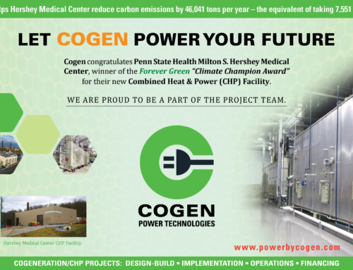 Cogen Power Technologies Congratulates Penn State Milton S. Hershey Medical Center for U.S. Green Business Council Climate Champion Award